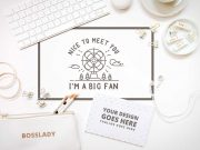 White Stationery Workspace Top View PSD Mockup