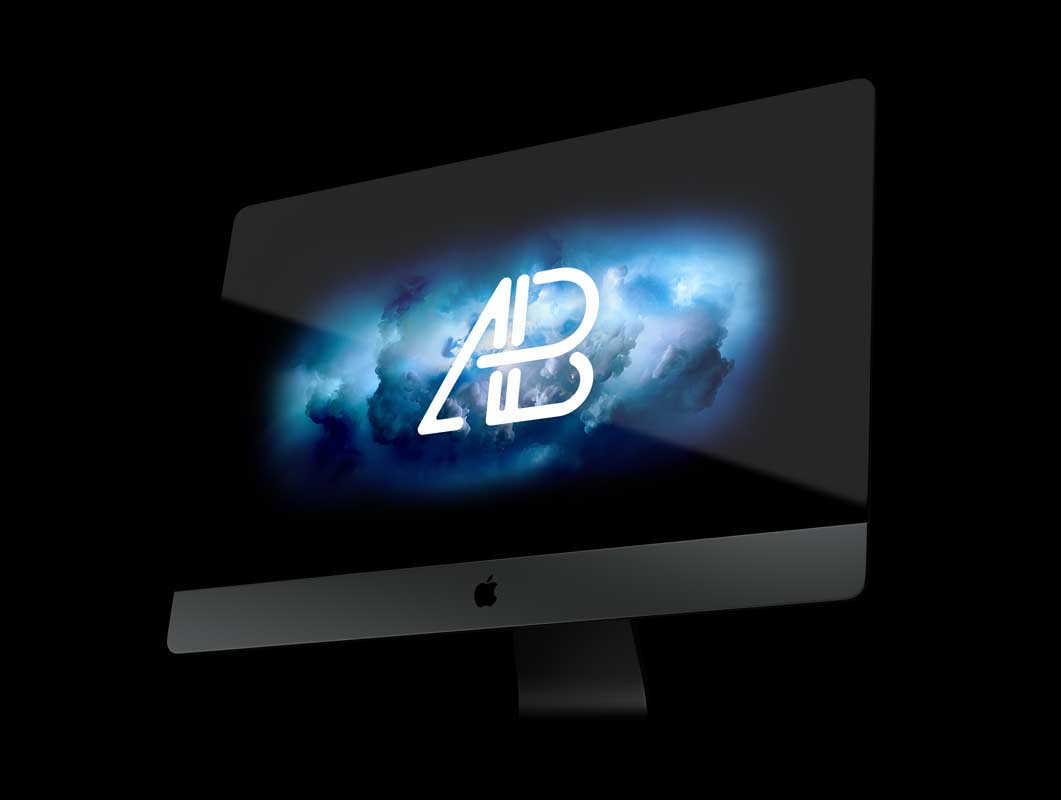 iMac Pro Space Grey Workstation Display PSD Mockup