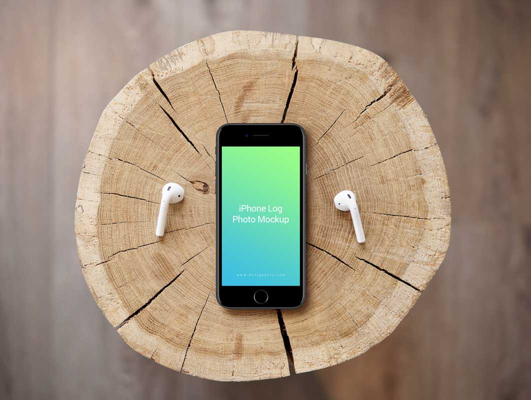 iPhone & Earbuds Outdoor Promo PSD Mockup
