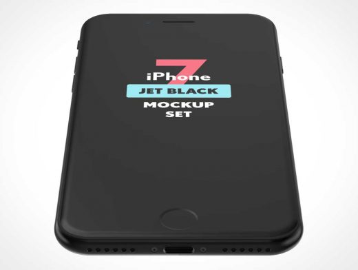 iPhone Jet Black Face Up PSD Mockup