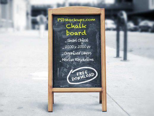 4 A-Frame Chalkboard Street Signs PSD Mockup