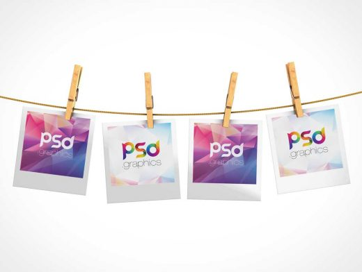 4 Polaroid Pictures & Cloths Line PSD Mockup