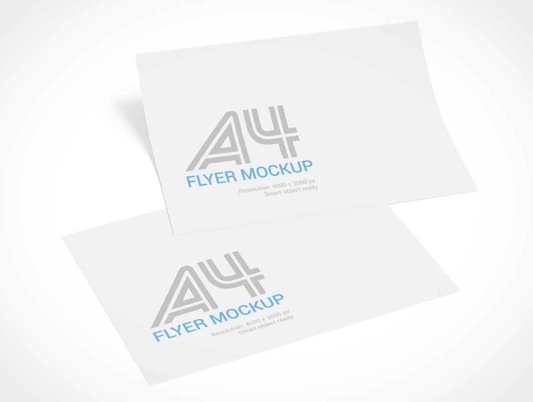 A4 Flyer Sheets Landscape Display PSD Mockup