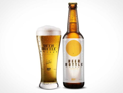 Beer Bottle, Drink Glass & Water Condensation Beads PSD Mockup