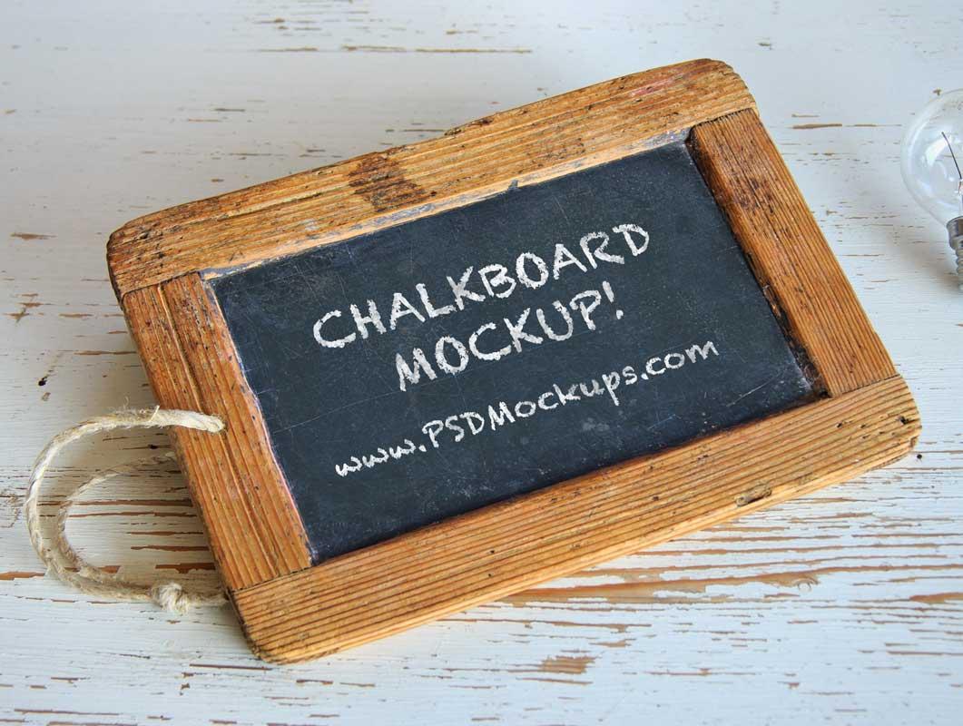 Black Chalkboard & Wood Frame PSD Mockup