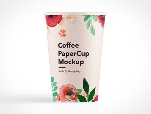 Coffee Paper Cup & Removed Lid PSD Mockup