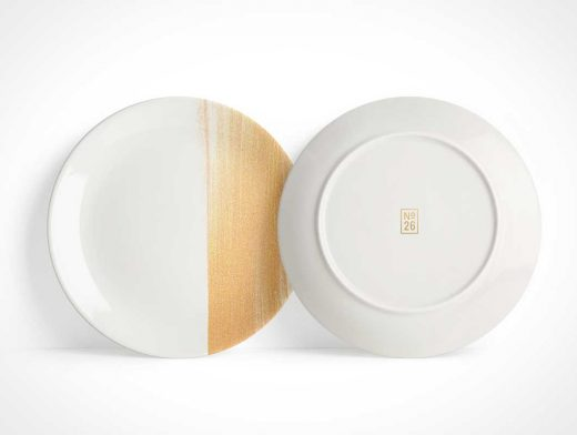 Dinner Plates Branding Display Front & Back PSD Mockup