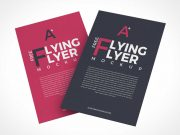 Floating A4 Flyer Sheets Front & Back PSD Mockups
