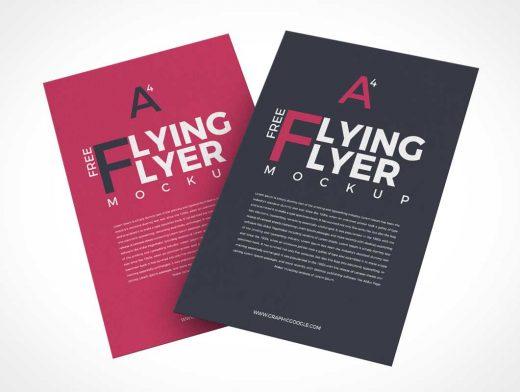 Floating A4 Flyer Sheets Front & Back PSD Mockups