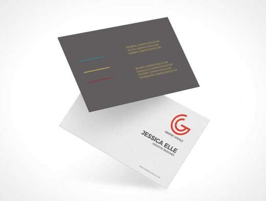 Floating Corporate Business Card Pair PSD Mockup