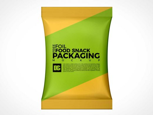 Foil Snack Food Pouch Packaging Front Label PSD Mockup