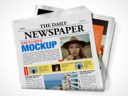 Folded Newspaper Front & Back Cover PSD Mockup
