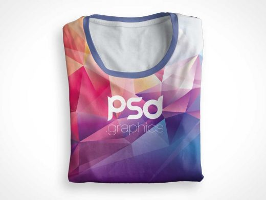 Folded Round Neck T-Shirt PSD Mockup
