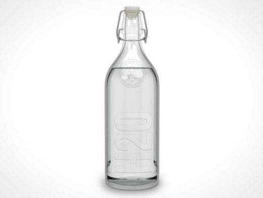 Glass Bottle & Cork Clamp Stopper PSD Mockup