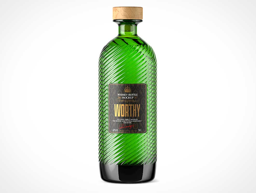 Green Glass Alcohol Bottle & Wood Tipped Cork PSD Mockup