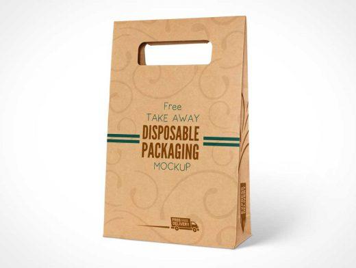 Kraft Paper Disposable Food Bag Packaging PSD Mockup