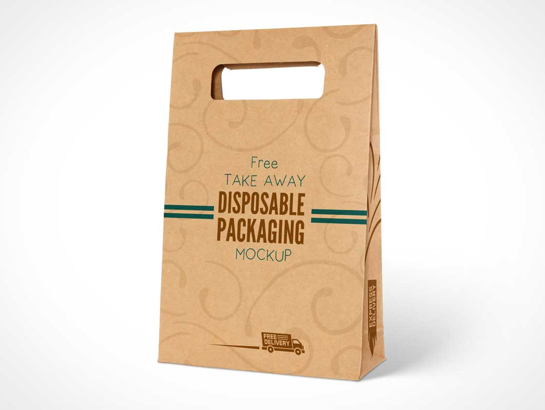 Kraft Paper Disposable Food Bag Packaging PSD Mockup