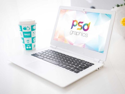 Laptop Workspace & Morning Coffee Cup PSD Mockup