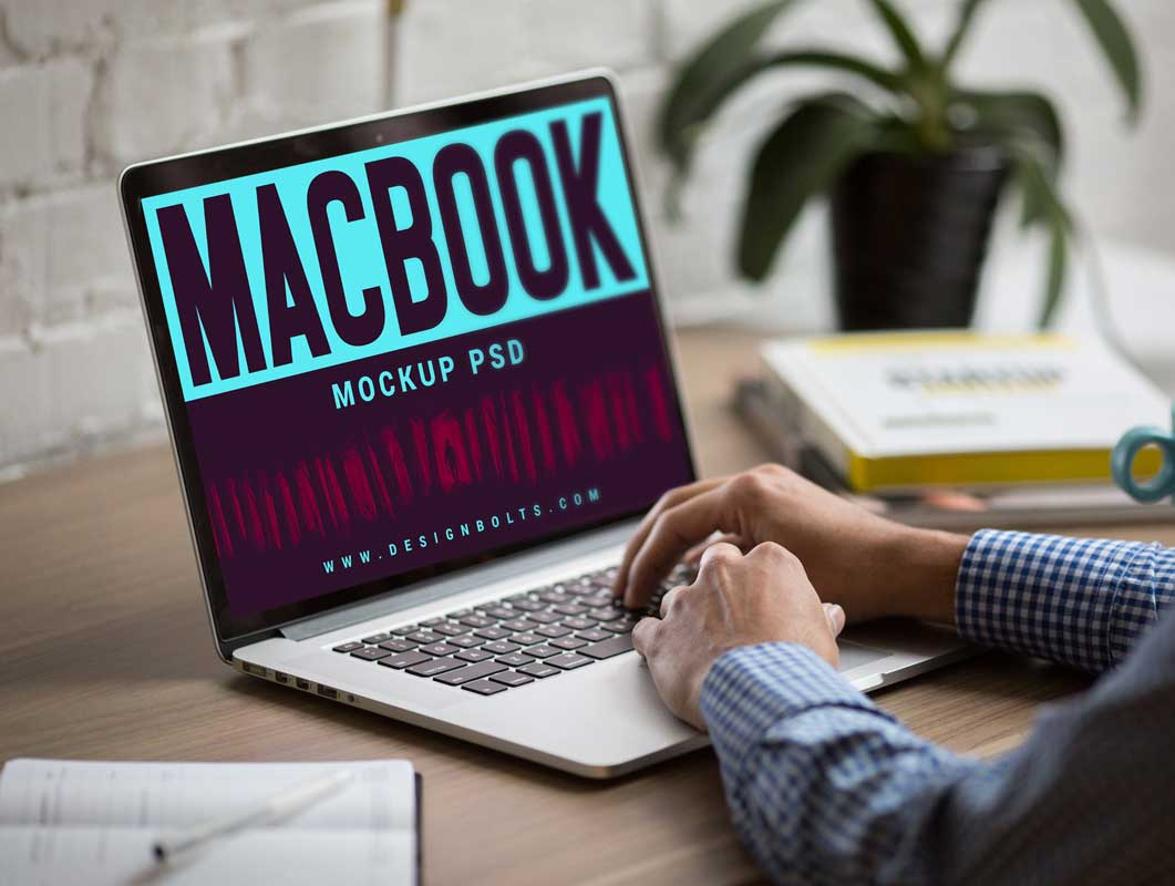 MacBook Home Office Workspace, Notepad, Mug & Hardcover Books PSD Mockups
