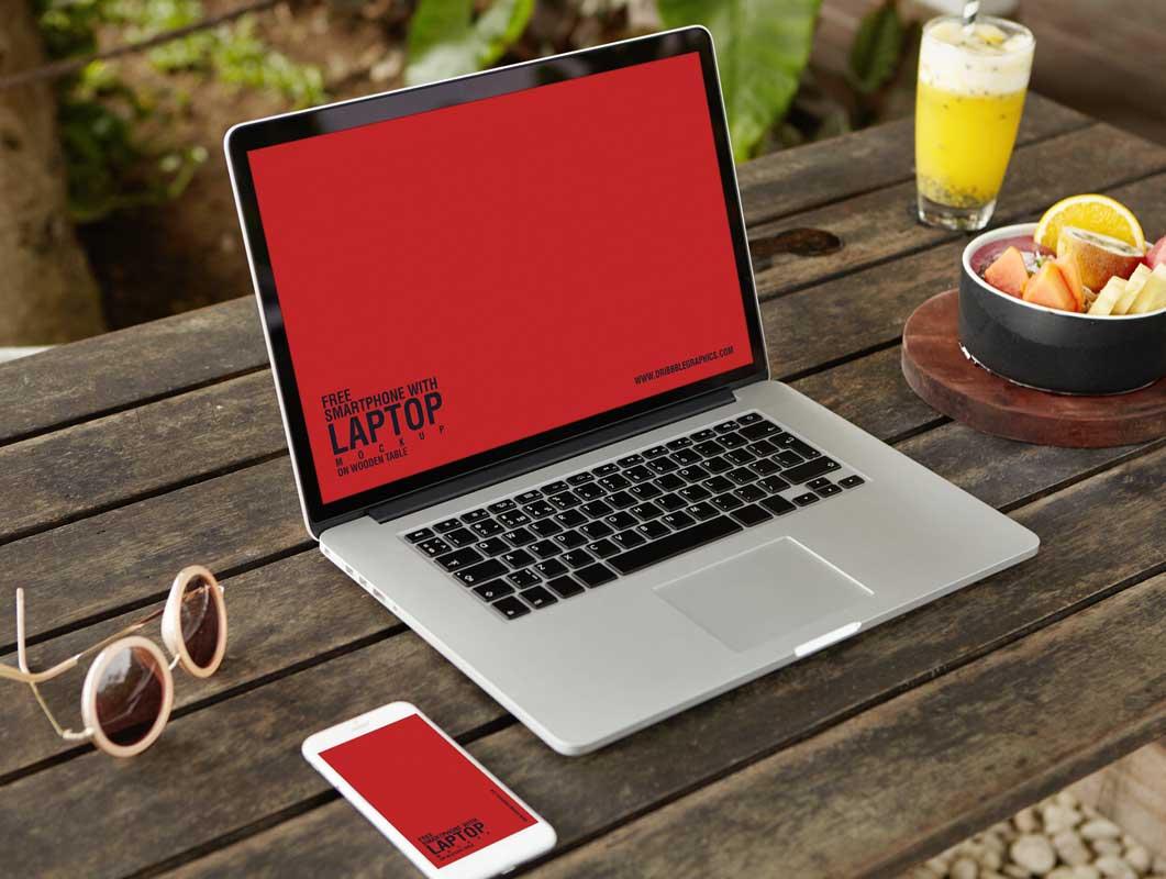 MacBook & Smartphone Outdoor Workspace PSD Mockup