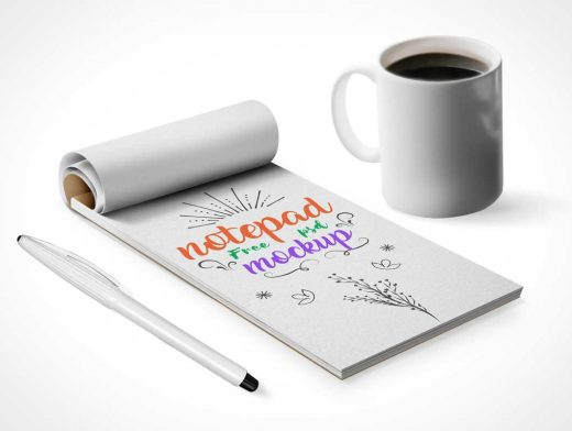 Notepad, Pen & Coffee Mug PSD Mockup
