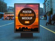 Outdoor Backlit Billboard Street Poster PSD Mockup