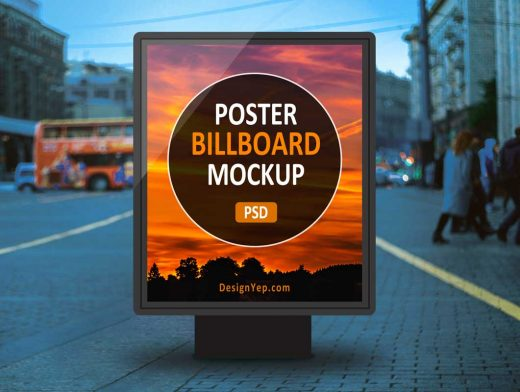 Outdoor Backlit Billboard Street Poster PSD Mockup