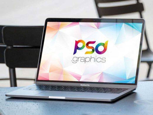 Outdoor MacBook Pro Bokeh PSD Mockup