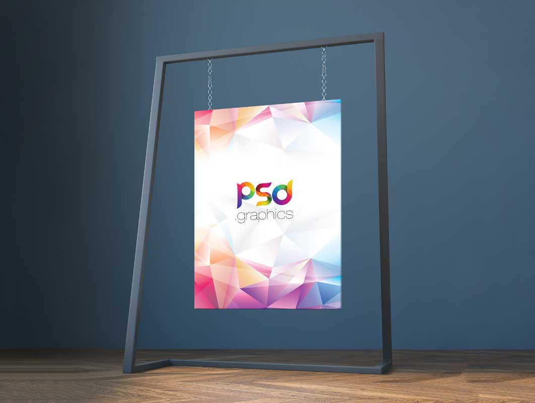 Painting Canvas & Metal Frame Display PSD Mockup