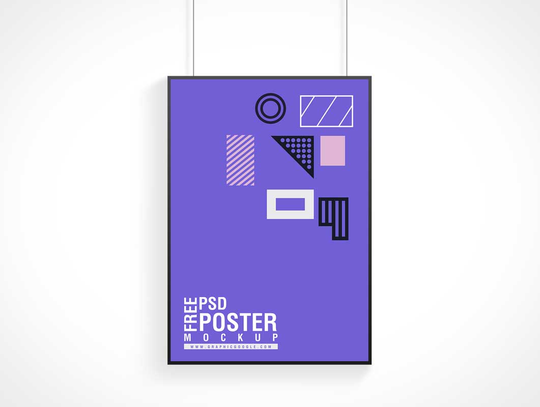 Poster & Frame Hung By Wire PSD Mockup