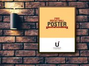Poster Frame Hung Over Brick Wall & Mounted Lamp PSD Mockup