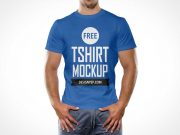Round Neck Cotton T-Shirt Front PSD Mockup