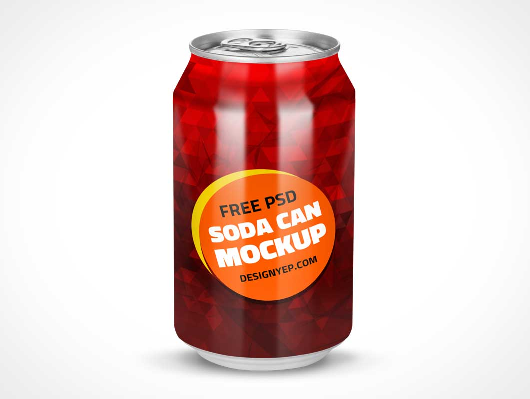 Soft Drink Soda Can Branding PSD Mockup