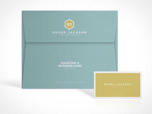 Stationery Envelope & Business Card PSD Mockup