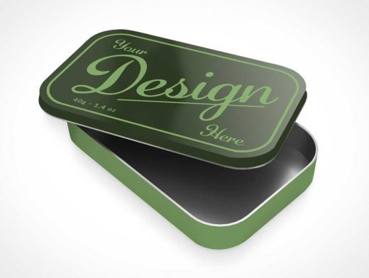 Tin Box Container & Open Lid PSD Mockup