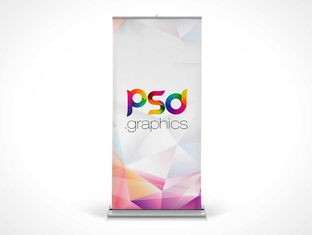 Trade Show Roll-up Banner Advertising Stand PSD Mockup