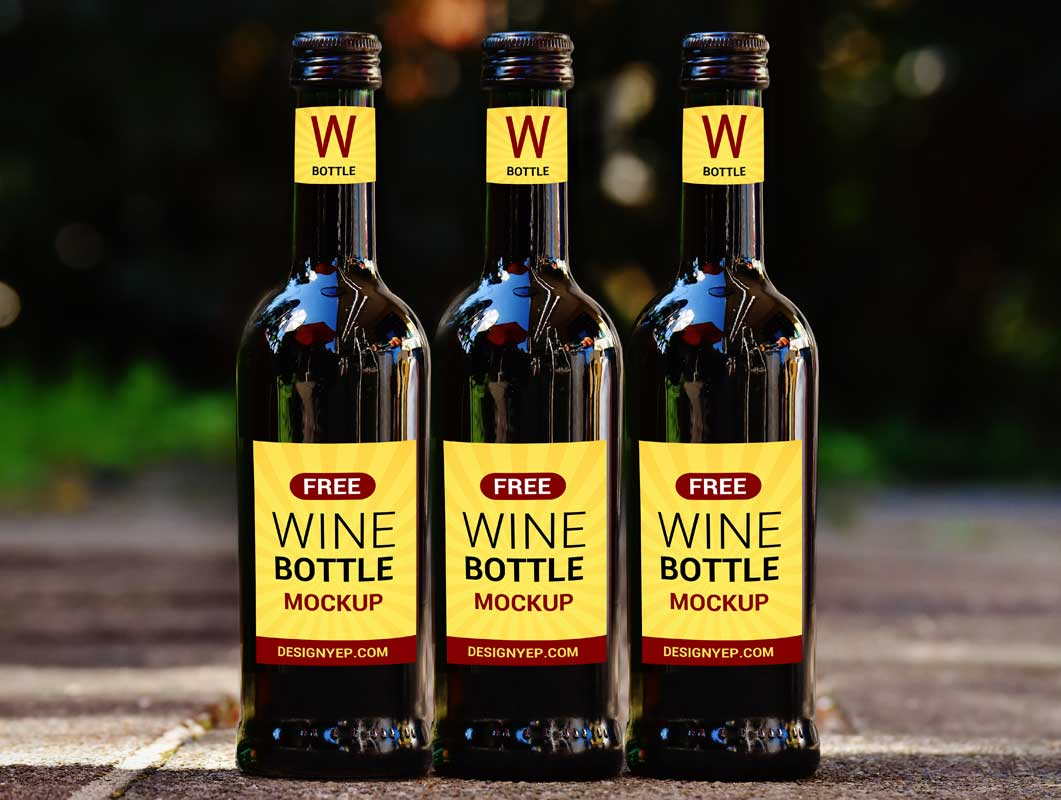 Twist Cap Wine Bottles PSD Mockup