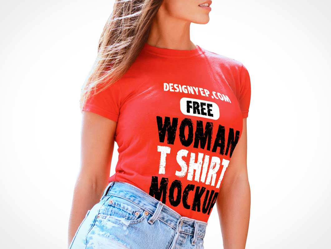 Woman's Round Neck T-Shirt Front PSD Mockup
