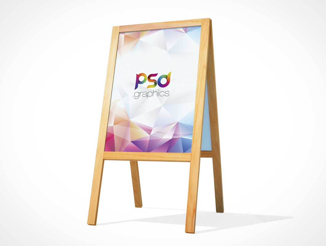 A-Frame Wooden Display Shop Sign PSD Mockup