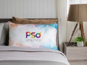 Bedroom Pillows With Nightstand & Lamp PSD Mockup