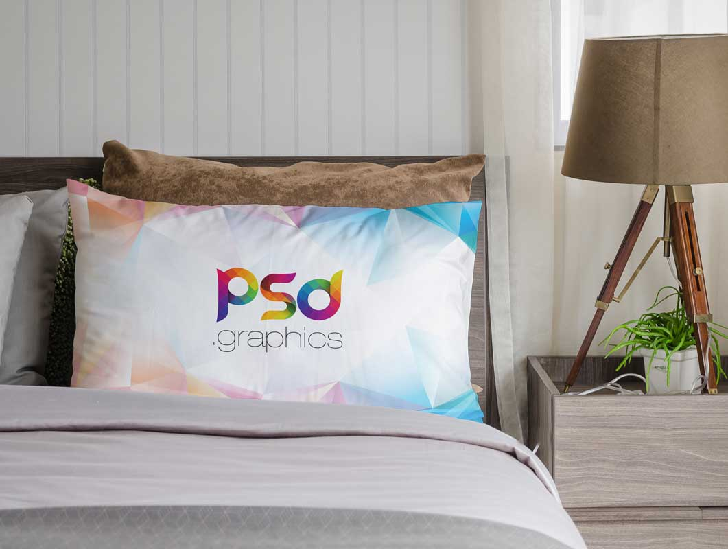 Bedroom Pillows With Nightstand U0026 Lamp PSD Mockup