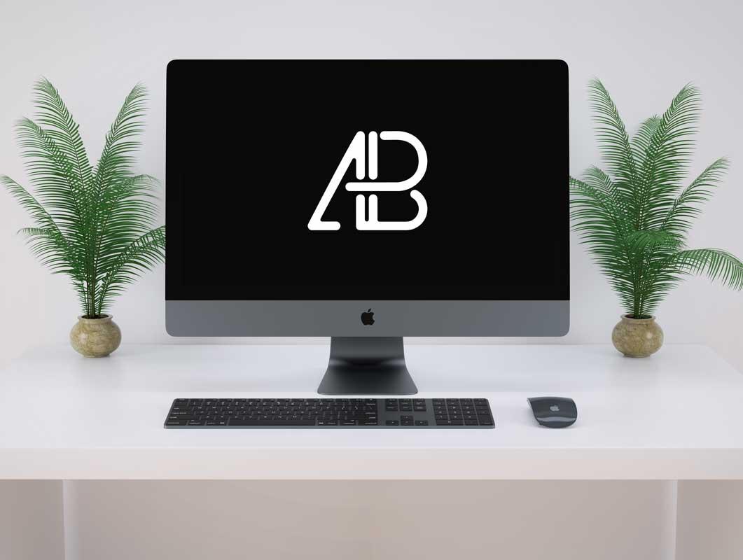 Black iMac Pro Workstation PSD Mockup