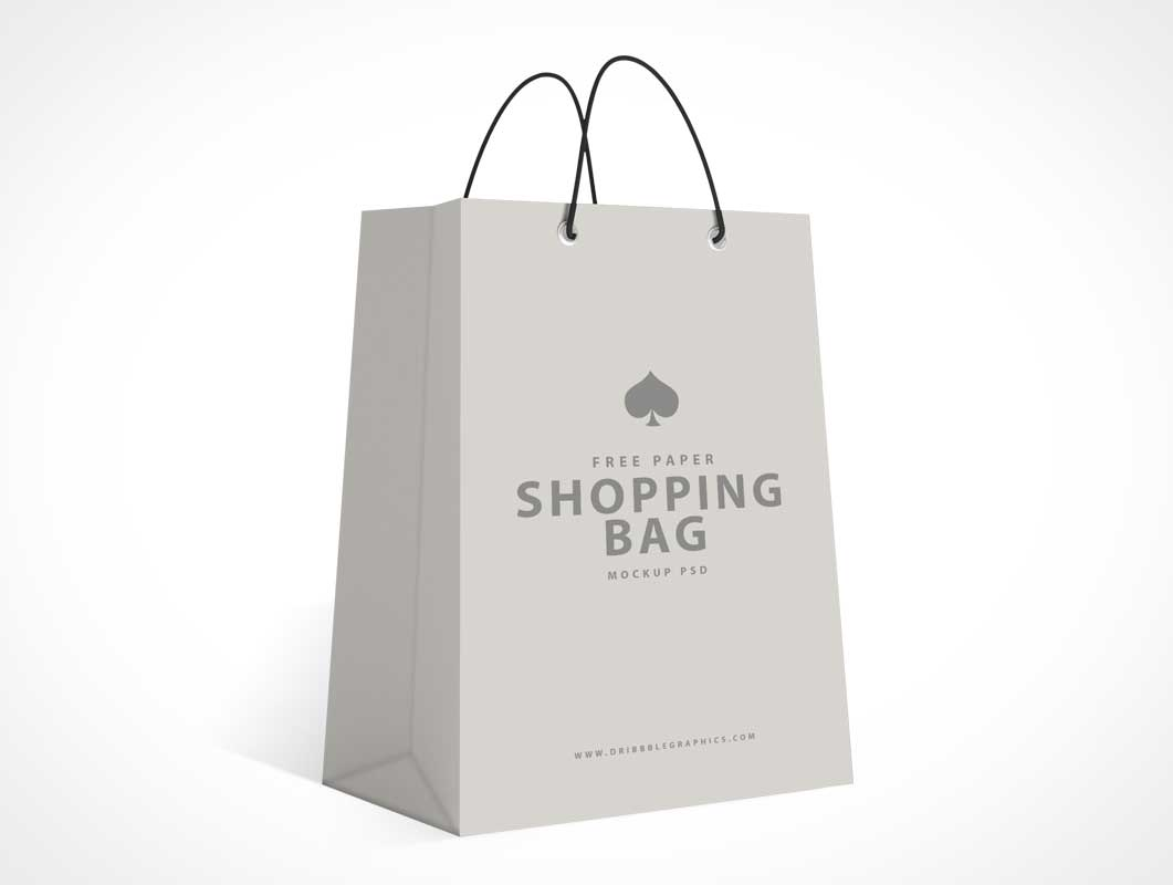 Boutique Style Shopping Bag & String Carry Handles PSD Mockup