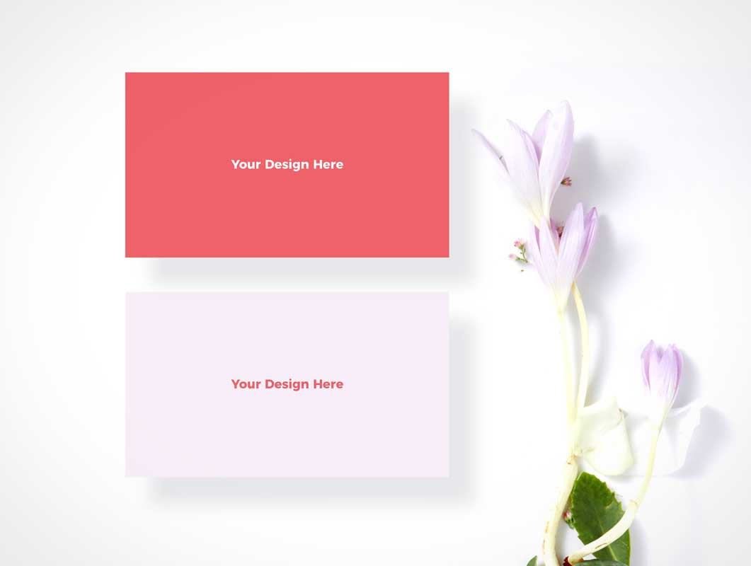 Business Card Floating Combo Front & Back Sides PSD Mockup