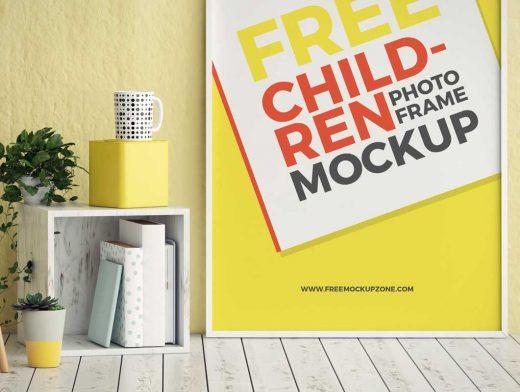 Children's Room Poster Frame PSD Mockup