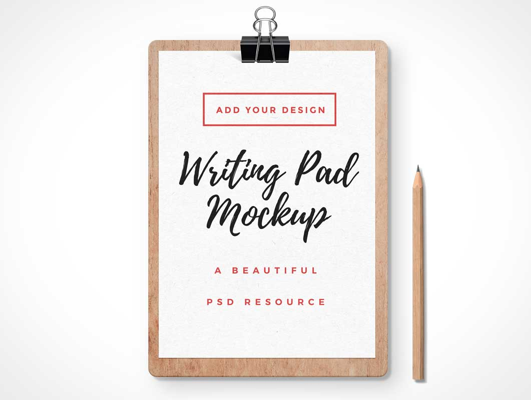 Clipboard Writing Pad PSD Mockup