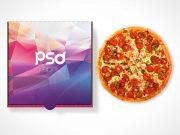 Closed Pizza Box Top Cover Branding PSD Mockup