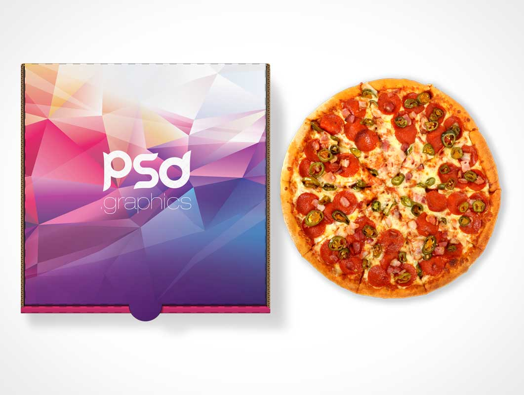 Closed Pizza Box Top Cover Branding PSD Mockup