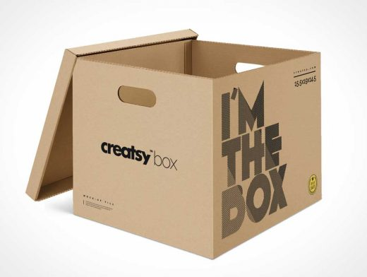 Corrugated Cardboard Moving & Storage Box PSD Mockup