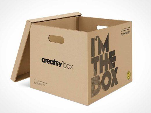 Corrugated Cardboard Moving & Storage Box PSD Mockup